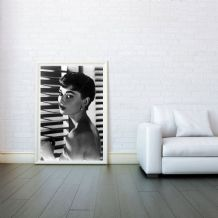 Audrey Hepburn Blinds Icon - Decorative Arts, Prints & Posters,Wall Art Print, Poster Any Size - Black and White Poster